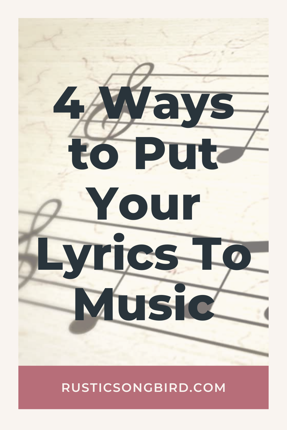 sheet music notes in the background and title text that says