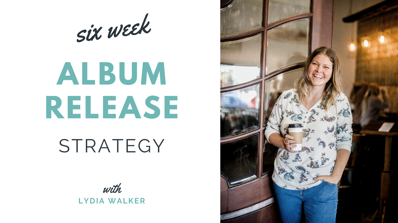 Image: Lydia Walker holding coffee. Text: Six Week Album Release Strategy with Lydia Walker